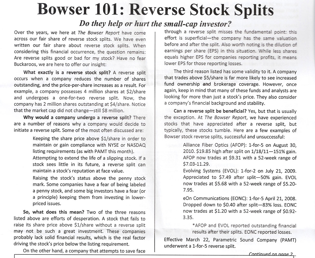 Reverse stock split call options
