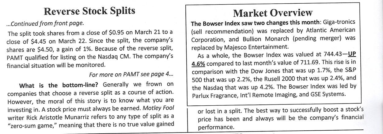 Reverse stock split on options